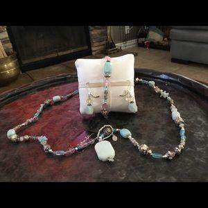 Amazonite Necklace, Bracelet, Earrings Set